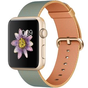 Apple Watch Sport 42mm Gold Aluminum Case With Royal Blue Woven Nylon Band Smartwatch